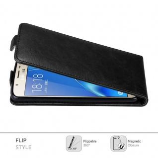 Cadorabo Hülle für Samsung Galaxy J7 2016 in NACHT SCHWARZ - Handyhülle im Flip Design mit unsichtbarem Magnetverschluss - Case Cover Schutzhülle Etui Tasche Book Klapp Style - Vorschau 2