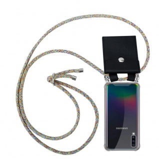 Cadorabo Handy Kette für Samsung Galaxy A70 in RAINBOW - Silikon Necklace Umhänge Hülle mit Silber Ringen, Kordel Band Schnur und abnehmbarem Etui - Schutzhülle