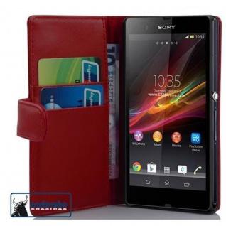 Cadorabo Hülle für Sony Xperia Z (1. Gen.) in CHILI ROT - Handyhülle aus glattem Kunstleder mit Standfunktion und Kartenfach - Case Cover Schutzhülle Etui Tasche Book Klapp Style
