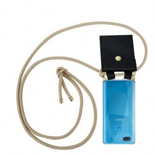 Cadorabo Handy Kette für Oppo A12 in GLÄNZEND BRAUN Silikon Necklace Umhänge Hülle mit Gold Ringen, Kordel Band Schnur und abnehmbarem Etui Schutzhülle