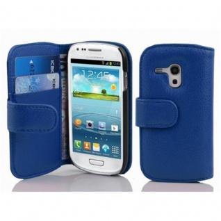 Cadorabo Hülle für Samsung Galaxy S3 MINI in KÖNIGS BLAU - Handyhülle aus strukturiertem Kunstleder mit Standfunktion und Kartenfach - Case Cover Schutzhülle Etui Tasche Book Klapp Style