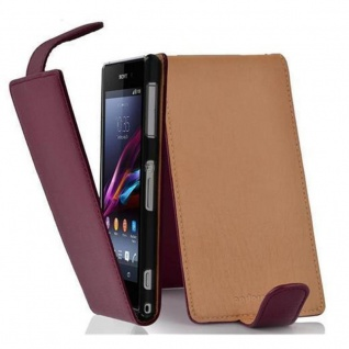 Cadorabo Hülle für Sony Xperia Z1 COMPACT in BORDEAUX LILA - Handyhülle im Flip Design aus strukturiertem Kunstleder - Case Cover Schutzhülle Etui Tasche Book Klapp Style