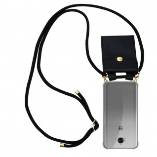 Cadorabo Handy Kette für Huawei Y6 2017 in SCHWARZ - Silikon Necklace Umhänge Hülle mit Gold Ringen, Kordel Band Schnur und abnehmbarem Etui ? Schutzhülle