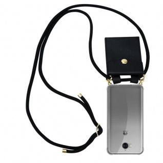Cadorabo Handy Kette für Huawei Y6 2017 in SCHWARZ Silikon Necklace Umhänge Hülle mit Gold Ringen, Kordel Band Schnur und abnehmbarem Etui Schutzhülle