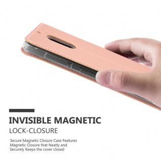 Cadorabo Hülle für Nokia 6 2017 in CLASSY ROSÉ GOLD - Handyhülle mit Magnetverschluss, Standfunktion und Kartenfach - Case Cover Schutzhülle Etui Tasche Book Klapp Style - Vorschau 5
