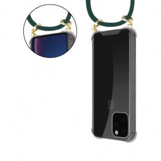 Cadorabo Handy Kette für Apple iPhone 11 PRO MAX (XI PRO MAX) in ARMEE GRÜN - Silikon Necklace Umhänge Hülle mit Gold Ringen, Kordel Band Schnur und abnehmbarem Etui - Schutzhülle - Vorschau 5