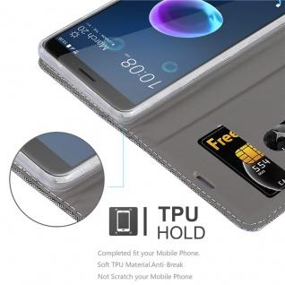 Cadorabo Hülle für HTC Desire 12 in HELL GRAU BRAUN - Handyhülle mit Magnetverschluss, Standfunktion und Kartenfach - Case Cover Schutzhülle Etui Tasche Book Klapp Style - Vorschau 2