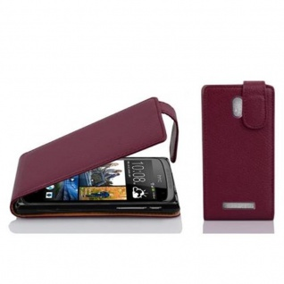 Cadorabo Hülle für HTC Desire 500 in BORDEAUX LILA - Handyhülle im Flip Design aus strukturiertem Kunstleder - Case Cover Schutzhülle Etui Tasche Book Klapp Style