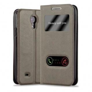 Cadorabo Hülle für Samsung Galaxy S4 MINI in STEIN BRAUN - Handyhülle mit Magnetverschluss, Standfunktion und 2 Sichtfenstern - Case Cover Schutzhülle Etui Tasche Book Klapp Style
