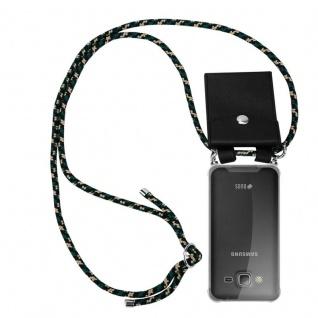 Cadorabo Handy Kette für Samsung Galaxy J3 / J3 DUOS 2016 in CAMOUFLAGE - Silikon Necklace Umhänge Hülle mit Silber Ringen, Kordel Band Schnur und abnehmbarem Etui - Schutzhülle