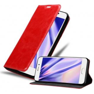 Cadorabo Hülle für MEIZU PRO 7 in APFEL ROT Handyhülle mit Magnetverschluss, Standfunktion und Kartenfach Case Cover Schutzhülle Etui Tasche Book Klapp Style