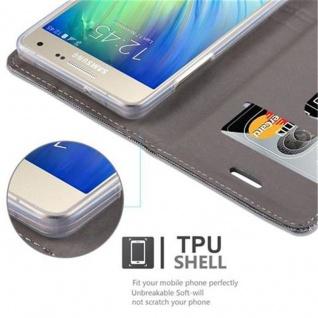 Cadorabo Hülle für Samsung Galaxy A3 2015 in HELL GRAU BRAUN - Handyhülle mit Magnetverschluss, Standfunktion und Kartenfach - Case Cover Schutzhülle Etui Tasche Book Klapp Style - Vorschau 3
