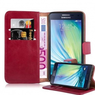 Cadorabo Hülle für Samsung Galaxy A5 2015 in WEIN ROT - Handyhülle mit Magnetverschluss, Standfunktion und Kartenfach - Case Cover Schutzhülle Etui Tasche Book Klapp Style