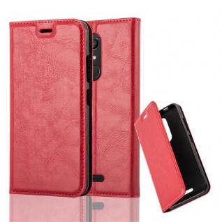Cadorabo Hülle für WIKO UPULSE LITE in APFEL ROT Handyhülle mit Magnetverschluss, Standfunktion und Kartenfach Case Cover Schutzhülle Etui Tasche Book Klapp Style
