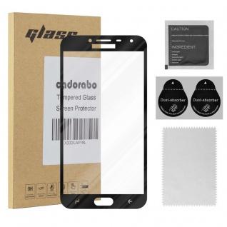 Cadorabo Vollbild Panzer Folie für Samsung Galaxy J4 2018 - Schutzfolie in TRANSPARENT mit SCHWARZ - Gehärtetes (Tempered) Display-Schutzglas in 9H Härte mit 3D Touch Kompatibilität