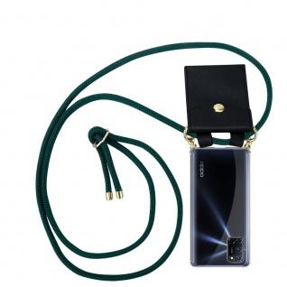 Cadorabo Handy Kette für Oppo A92 in ARMEE GRÜN Silikon Necklace Umhänge Hülle mit Gold Ringen, Kordel Band Schnur und abnehmbarem Etui Schutzhülle
