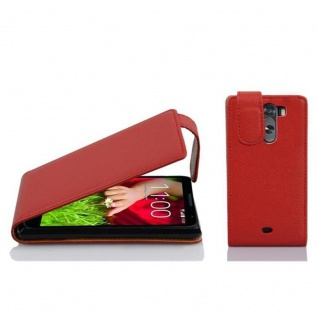 Cadorabo Hülle für LG G2 MINI - Hülle in INFERNO ROT ? Handyhülle aus strukturiertem Kunstleder im Flip Design - Case Cover Schutzhülle Etui Tasche