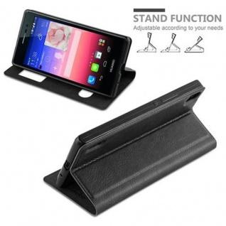 Cadorabo Hülle für Huawei P7 in KOMETEN SCHWARZ ? Handyhülle mit Magnetverschluss, Standfunktion und 2 Sichtfenstern ? Case Cover Schutzhülle Etui Tasche Book Klapp Style - Vorschau 4