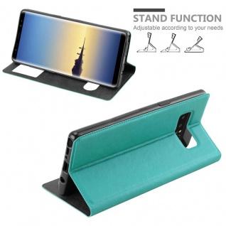 Cadorabo Hülle für Samsung Galaxy NOTE 8 in MINT TÜRKIS - Handyhülle mit Magnetverschluss, Standfunktion und 2 Sichtfenstern - Case Cover Schutzhülle Etui Tasche Book Klapp Style - Vorschau 4