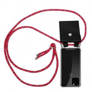 Cadorabo Handy Kette für Apple iPhone 11 PRO MAX (XI PRO MAX) in PINK SCHWARZ WEISS GEPUNKTET - Silikon Necklace Umhänge Hülle mit Silber Ringen, Kordel Band Schnur und abnehmbarem Etui - Schutzhülle