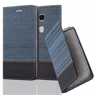 Cadorabo Hülle für Huawei Honor 5X / Play 5X / Huawei GR5 in DUNKEL BLAU SCHWARZ - Handyhülle mit Magnetverschluss, Standfunktion und Kartenfach - Case Cover Schutzhülle Etui Tasche Book Klapp Style