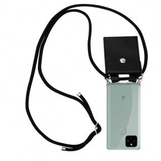Cadorabo Handy Kette für Google Pixel 5 in SCHWARZ Silikon Necklace Umhänge Hülle mit Silber Ringen, Kordel Band Schnur und abnehmbarem Etui Schutzhülle