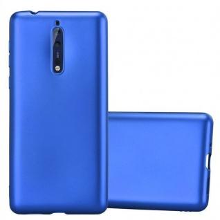 Cadorabo Hülle für Nokia 8 2017 in METALLIC BLAU - Handyhülle aus flexiblem TPU Silikon - Silikonhülle Schutzhülle Ultra Slim Soft Back Cover Case Bumper