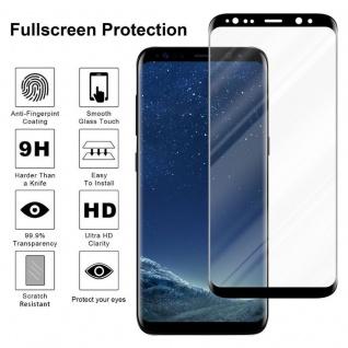 Cadorabo Vollbild Panzer Folie für Samsung Galaxy S8 - Schutzfolie in TRANSPARENT mit SCHWARZ - Gehärtetes (Tempered) Display-Schutzglas in 9H Härte mit 3D Touch Kompatibilität - Vorschau 4