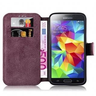 Cadorabo Hülle für Samsung Galaxy S5 / S5 NEO - Hülle in MATT ROT ? Handyhülle mit Standfunktion und Kartenfach im Retro Design - Case Cover Schutzhülle Etui Tasche Book Klapp Style