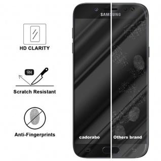 Cadorabo Vollbild Panzer Folie für Samsung Galaxy J7 PRO - Schutzfolie in TRANSPARENT mit SCHWARZ - Gehärtetes (Tempered) Display-Schutzglas in 9H Härte mit 3D Touch Kompatibilität - Vorschau 3