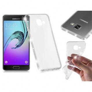 Cadorabo Hülle für Samsung Galaxy A3 2016 - Hülle in TRANSPARENT WEIß ? Handyhülle aus TPU Silikon im Strass Design - Silikonhülle Schutzhülle Ultra Slim Soft Back Cover Case Bumper