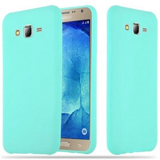 Cadorabo Hülle für Samsung Galaxy J7 2015 in CANDY BLAU - Handyhülle aus flexiblem TPU Silikon - Silikonhülle Schutzhülle Ultra Slim Soft Back Cover Case Bumper