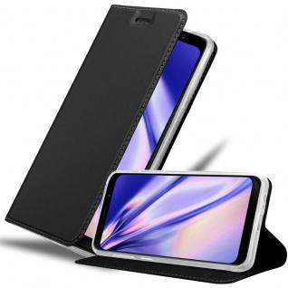 Cadorabo Hülle für Samsung Galaxy A8 2018 in CLASSY SCHWARZ - Handyhülle mit Magnetverschluss, Standfunktion und Kartenfach - Case Cover Schutzhülle Etui Tasche Book Klapp Style