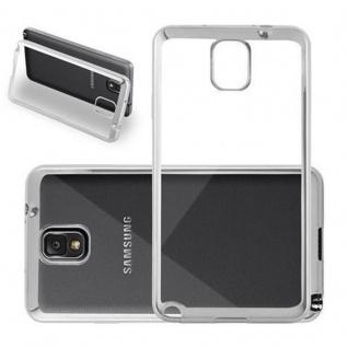 Cadorabo Hülle für Samsung Galaxy NOTE 3 - Hülle in TRANSPARENT mit CHROM SILBER - Handyhülle aus TPU Silikon im Chrom Design - Silikonhülle Schutzhülle Ultra Slim Soft Back Cover Case Bumper