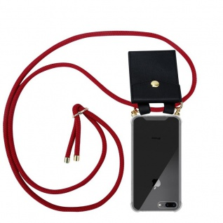 Cadorabo Handy Kette für Apple iPhone 8 PLUS / 7 PLUS / 7S PLUS in RUBIN ROT Silikon Necklace Umhänge Hülle mit Gold Ringen, Kordel Band Schnur und abnehmbarem Etui Schutzhülle