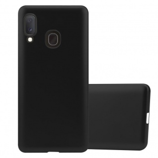 Cadorabo Hülle für Samsung Galaxy A20e in METALLIC SCHWARZ - Handyhülle aus flexiblem TPU Silikon - Silikonhülle Schutzhülle Ultra Slim Soft Back Cover Case Bumper