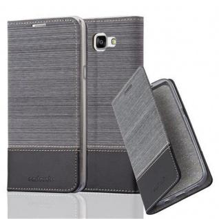 Cadorabo Hülle für Samsung Galaxy A9 2016 in GRAU SCHWARZ - Handyhülle mit Magnetverschluss, Standfunktion und Kartenfach - Case Cover Schutzhülle Etui Tasche Book Klapp Style