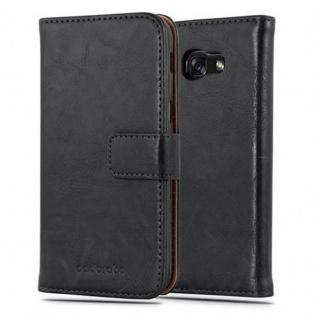 Cadorabo Hülle für Samsung Galaxy A3 2017 in GRAPHIT SCHWARZ ? Handyhülle mit Magnetverschluss, Standfunktion und Kartenfach ? Case Cover Schutzhülle Etui Tasche Book Klapp Style