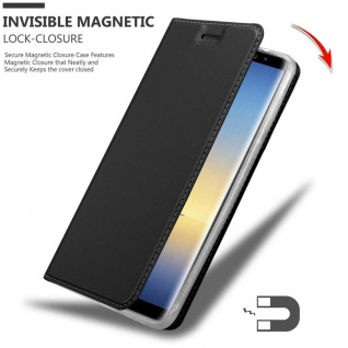 Cadorabo Hülle für Samsung Galaxy NOTE 8 in CLASSY SCHWARZ - Handyhülle mit Magnetverschluss, Standfunktion und Kartenfach - Case Cover Schutzhülle Etui Tasche Book Klapp Style - Vorschau 3