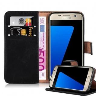 Cadorabo Hülle für Samsung Galaxy S7 in GRAPHIT SCHWARZ Handyhülle mit Magnetverschluss, Standfunktion und Kartenfach Case Cover Schutzhülle Etui Tasche Book Klapp Style