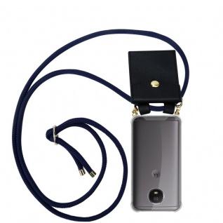 Cadorabo Handy Kette für Motorola MOTO G5S in TIEF BLAU - Silikon Necklace Umhänge Hülle mit Gold Ringen, Kordel Band Schnur und abnehmbarem Etui ? Schutzhülle