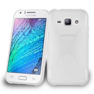 Cadorabo Hülle für Samsung Galaxy J1 2015 in HALB TRANSPARENT ? Handyhülle aus flexiblem TPU Silikon ? Silikonhülle Schutzhülle Ultra Slim Soft Back Cover Case Bumper