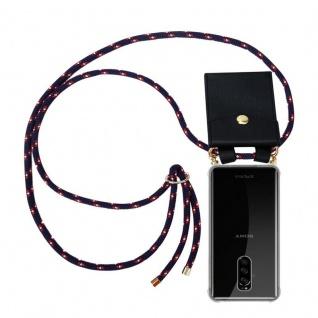 Cadorabo Handy Kette für Sony Xperia 1 in BLAU ROT WEISS GEPUNKTET - Silikon Necklace Umhänge Hülle mit Gold Ringen, Kordel Band Schnur und abnehmbarem Etui ? Schutzhülle