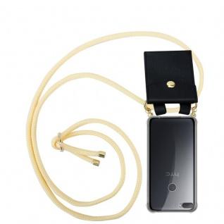 Cadorabo Handy Kette für HTC Desire 12 PLUS in CREME BEIGE - Silikon Necklace Umhänge Hülle mit Gold Ringen, Kordel Band Schnur und abnehmbarem Etui ? Schutzhülle