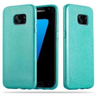 Cadorabo Hülle für Samsung Galaxy S7 EDGE - Hülle in STERNENSTAUB TÜRKIS ? TPU Silikon und Hardcase Handyhülle im Glitzer Design - Hard Case TPU Silikon Schutzhülle