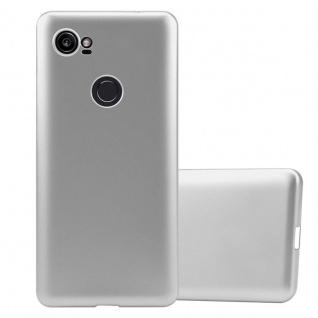 Cadorabo Hülle für Google Pixel 2 XL in METALLIC SILBER - Handyhülle aus flexiblem TPU Silikon - Silikonhülle Schutzhülle Ultra Slim Soft Back Cover Case Bumper