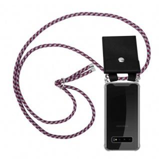 Cadorabo Handy Kette für Samsung Galaxy S10 PLUS in ROT WEISS Silikon Necklace Umhänge Hülle mit Silber Ringen, Kordel Band Schnur und abnehmbarem Etui Schutzhülle