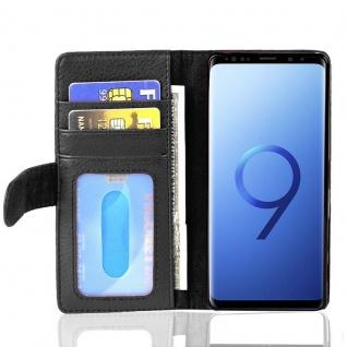 Cadorabo Hülle für Samsung Galaxy S9 in OXID SCHWARZ ? Handyhülle mit Magnetverschluss und 3 Kartenfächern ? Case Cover Schutzhülle Etui Tasche Book Klapp Style