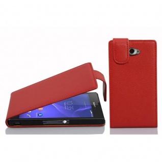 Cadorabo Hülle für Sony Xperia M2 / M2 Aqua in INFERNO ROT - Handyhülle im Flip Design aus strukturiertem Kunstleder - Case Cover Schutzhülle Etui Tasche Book Klapp Style