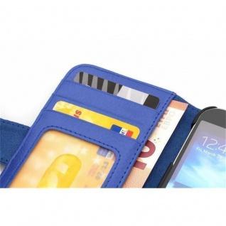Cadorabo Hülle für HTC ONE M8 MINI (2.Gen.) in NEPTUN BLAU - Handyhülle mit Magnetverschluss und 3 Kartenfächern - Case Cover Schutzhülle Etui Tasche Book Klapp Style - Vorschau 2